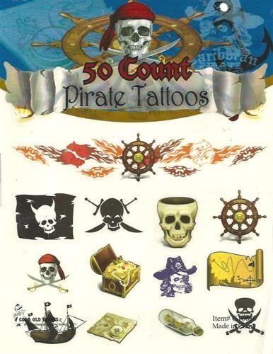 Pirate Temporary Tattoos Childrens Theme Birthdays Parties Celebrations 50 (Pirate Theme Tattoos)