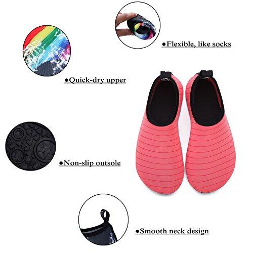 Wxdz Womens Heren Water Schoenen Sneldrogend Barefoot Aqua Sokken Voor Zwemmen Strand Surf Zwembad Yoga Watermeloen Rood