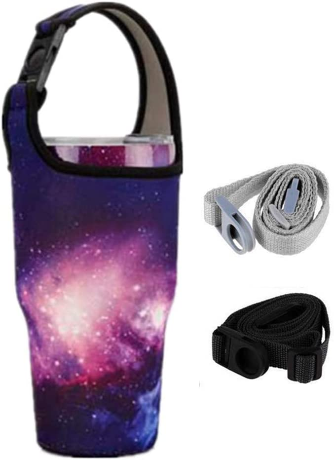 YouZi Tumbler 30 oz Carrier Handle Bag w/Shoulder Strap Fit for Rtic, Atlin, Ozark Trail,YETI Rambler 30 oz Insulated Tumbler Coffee Cup (puple- Sky)