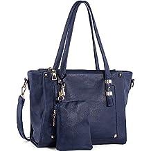 WISHESGEM Women Fashion Handbags Top-Handle Shoulder Bags PU Leather Tote Bags Crossbody Purse