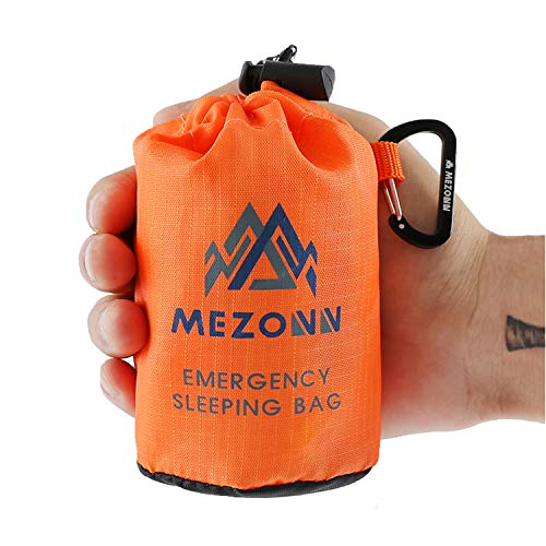 - Mezonn PE Emergency Sleeping Bag Survival Bivy Sack- Use as Emergency Space Blanket, Lightweight Sleeping Bag, Survival Gear for Outdoor, Hiking, Camping - Includes Nylon Sack with Carabiner