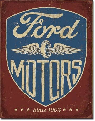"The Finest Website Inc. New Ford Motors 16"" x 12.5"" (D2205) Nostalgic Vintage Appearance Advertising Tin Sign"
