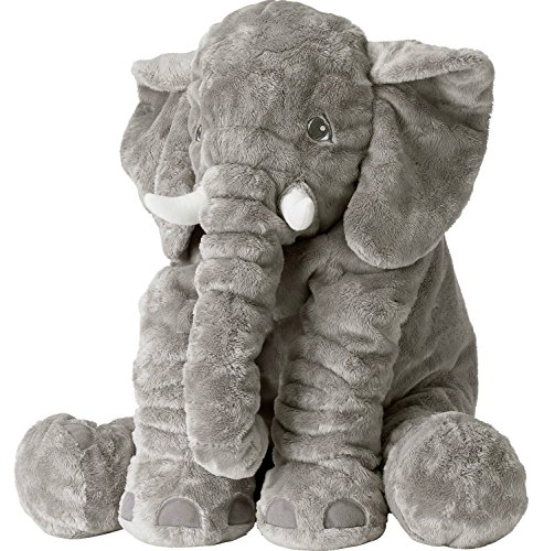 Missley Elephant Plush Toys Warm Animal Cushion Cute Long Nose Animal Doll 2 Sizes Avaiable (Grey, Large) -