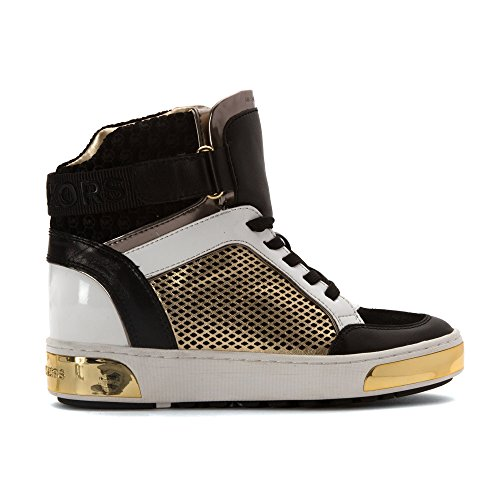 40f205a98f2d lovely MICHAEL Michael Kors Women s Pia High Top Black Pale Gold Embossed  Sport Suede 8.5