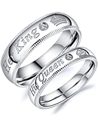 Stainless Steel Her Queen & His King Wedding Couple Ring Band Matching Set, Love Gift