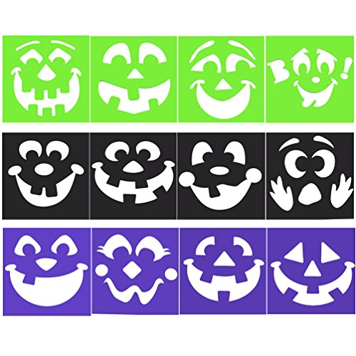 Plastic Drawing Stencils Christian Halloween Pumpkin Painting Templates 12 (Halloween Stencils For Painting Pumpkins)