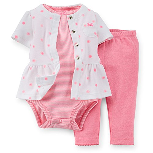 Carter's Baby Girls' 3 Piece Layette Set (Baby) - Pink Dots - 9 Months - Dot Layette Set