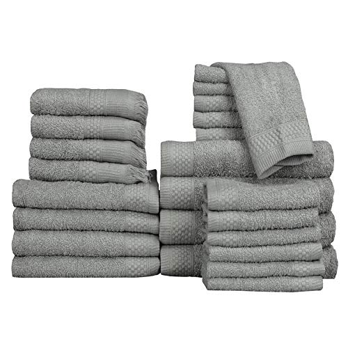 Baltic Linen Multi Count 100% Cotton Towels, 4 Bath Towels, 4 Hand Towels, 4 Fringed Fingertips, 12 Washcloths, Graphite Grey, 24 Piece Set ()