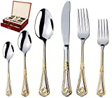 75-Piece Gold Flatware Set Dining Service for 12 - Premium 18/10 Stainless Steel - 24K Gold Plated Trim - Silverware Serving Set Lightweight - Wood Flatware Box - Dishwasher Safe (Miami)
