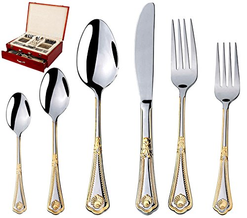75-Piece Gold Flatware Set Dining Service for 12 - Premium 18/10 Stainless Steel - 24K Gold Plated Trim - Silverware Serving Set Lightweight - Wood Flatware Box - Dishwasher Safe (Miami) by DIZORA