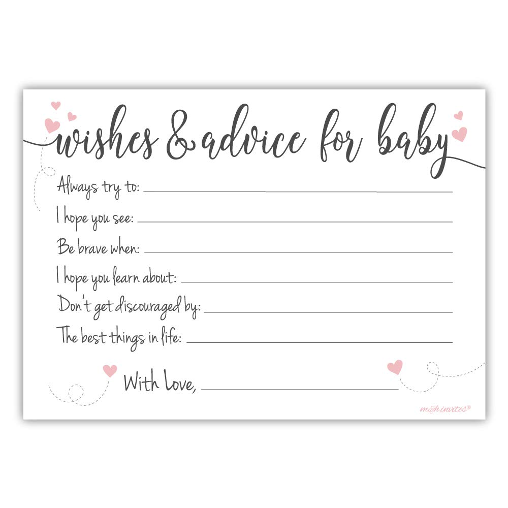 Amazon.com: 50 Count Sweet Heart Baby Shower Wishes and Advice for Baby  Cards: Kitchen & Dining