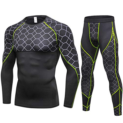 New Long Johns Winter Thermal Underwear Sets Men Quick Dry Anti-Microbial Stretch Warm Fitness,Green,XL