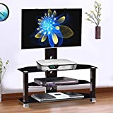 60 expresso floating shelf - Premium Glass TV Stand Entertainment Console Rack with MDF stand for 37 - 60