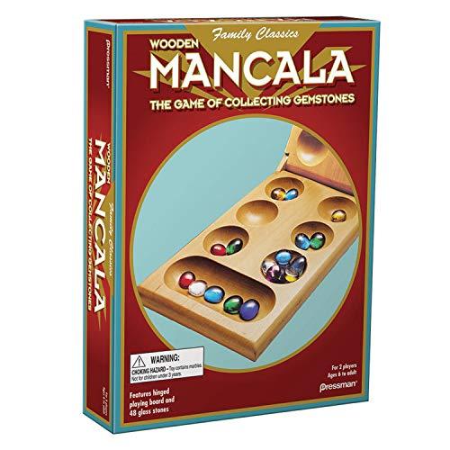 Pressman Mancala – Real Wood Folding Set, with Multicolor Stones by Pressman
