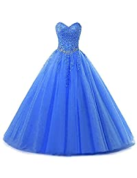 Zorayi Women's Long Tulle Beaded Quinceanera Dress Formal Prom Gown