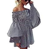 Women Dress Off Shoulder Long Sleeve Stripe Printed Casual Mini Dress Black Medium