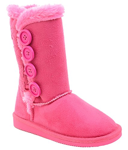 Fourever Funky Fur-Lined Vegan Suede Snow Warm Winter Knee High Girl's Kids Boots FU 2
