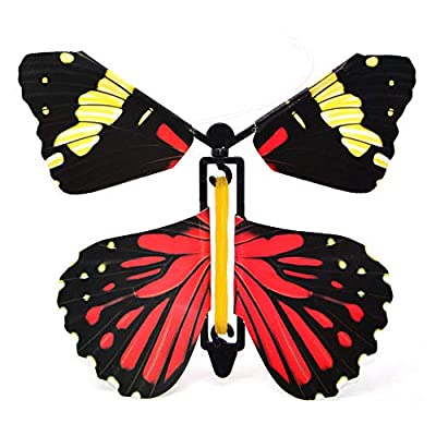 Luckycyc Flying Butterfly, 10PCS Children's Magic Prop Toy Magic Fairy Flying in The Book Butterfly Rubber Band Powered Wind Up Butterfly Toy Great Surprise Gift, Random Color Style: Home & Kitchen