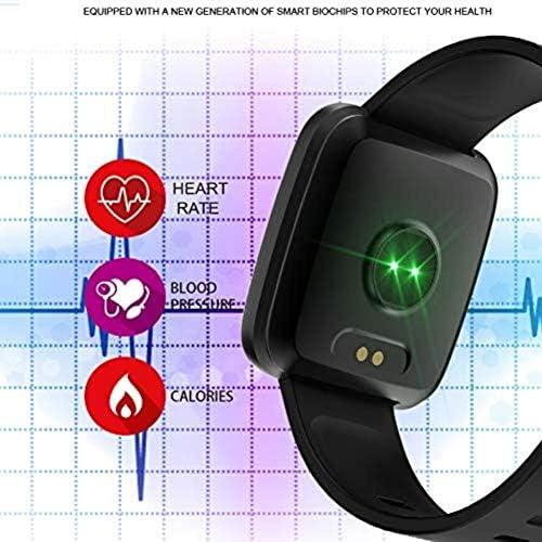 Frequenza cardiaca informazioni chiamare sfigmomanometro promemoria intelligente cinghia Fitness Tracker stretto donne degli uomini di Smart Black Watch Acciaio,denaro nero