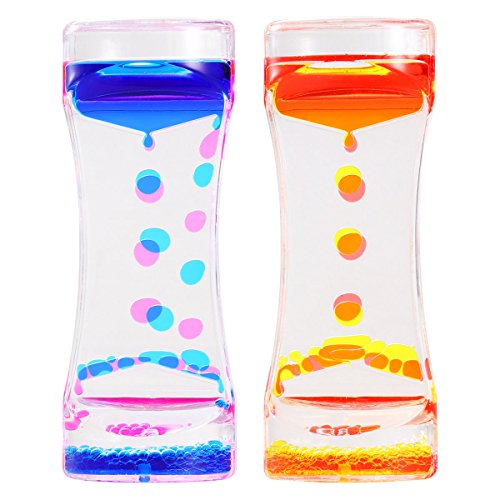 (BESTOMZ 2 Pack Liquid Motion Bubbler Timer for Sensory Play, Colored Oil Hourglass Relaxation Toy)