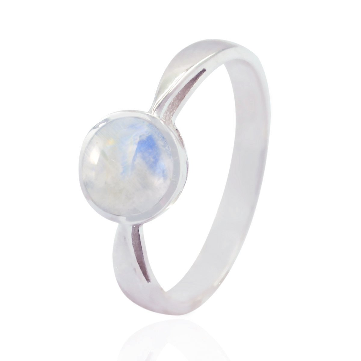 Exporter Jewellery Great Item Gift for Fathers Day Great Ring 925 Sterling Silver White Rainbow Moonstone Good Gemstones Ring Good Gemstones Round cabochon Rainbow Moonstone Ring