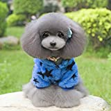 New Arrival Winter Pet Dog Stars Design Fleece Soft Coat Two Feet Puppy Hoodie Clothes High Quality Costumes For Pets^Blue.L