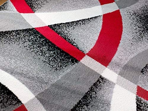 Summit ST34 Area Rug Black Red Gray Modern Abstract Many Aprx Sizes Available 3'.8'' X 5'