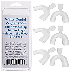 Watts Dental Super Thin Thermo Teeth Whitening Trays- 6 Pack - BPA Free & Thinnest At Home Teeth Whitening Tray Available - Made in the USA