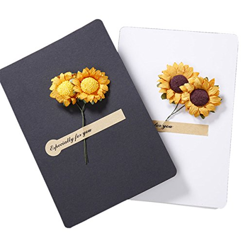 Aifang Vintage Thanksgiving Greeting Wish Cards Kraft Handmade Dried Sunflowers Thank You Notes Birthday Party wedding Christmas Invitation Cards Set Pack of 6