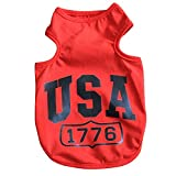 Dogloveit USA Summer Vest T Shirt Clothes for Pet Puppy Dog Cat, Red, XX-Large