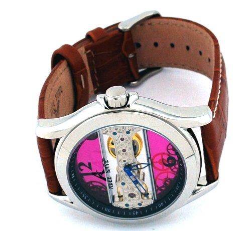 Adee Kaye #AK7142-M Men's Stainless Steel Leather Strap Treasure Hunter Mechanical Skeleton Watch