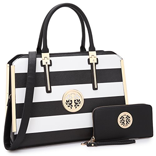 (Dasein Women Large Handbag Purse Vegan Leather Satchel Work Bag Shoulder Tote with Matching Wallet (Black/White))