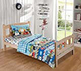 Mk Collection 3pc Toddler Size Comforter and Fitted Sheet And Pillow sham Trucks Tractors Cars Police Cars Construction airplane Kids/boys / Teens New# Trucks (Toddler, Trucks)