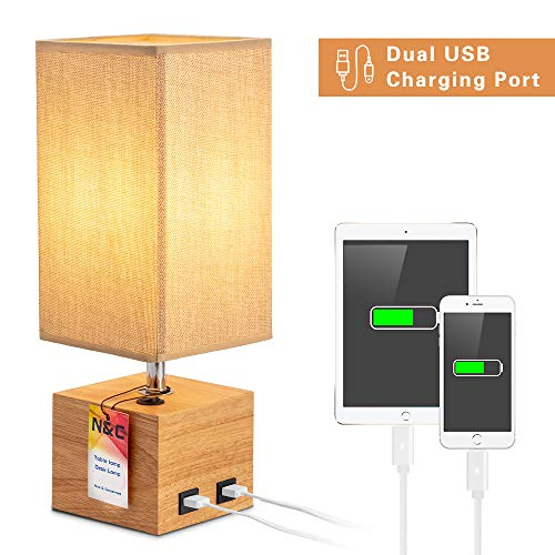 N&C- Bedside Table Lamp with 2 USB Ports,Solid Wood Desk Lamp,Push Button Switch Simple Table Lamp, Nightstand Light with Cream Linen Fabric Shade for Bedroom/Living Room/Study Room (Brown, Square)