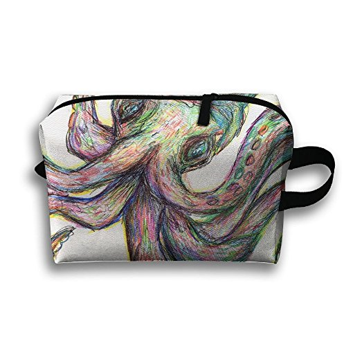 RONG FA Blazing With Colour Octopus Tattoo Portable Travel Makeup Bag,Storage Bag Portable Ladies Travel Square Cosmetic Bag by RONG FA