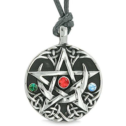 c Star Celtic Defense Green Blue Red Crystals Pentagram Pendant Adjustable Necklace (Pentacle Crystal)