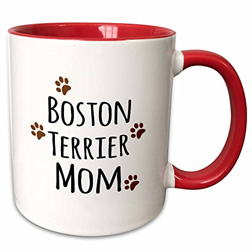 3dRose InspirationzStore Pet designs - Boston Terrier Dog Mom - Doggie by breed - brown muddy paw prints love - doggy lover mama pet owner - 11oz Two-Tone Red Mug - Boston Plates Terrier