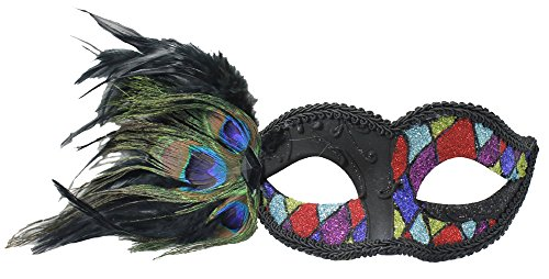 (RedSkyTrader Womens Venetian Mask w/Peacock Feathers One Size Fits Most)