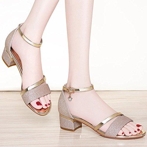 SHOESHAOGE Gruesas Con Sandalias En Ranurado Hembra Con Zapatos Con High-Heeled ,Eu36 EU36