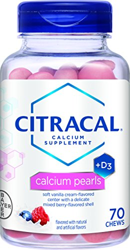 Schiff Bone Minerals - Citracal Calcium Pearls, 400 mg Calcium Carbonate With 1000 IU Vitamin D3, Bone Health Supplement for Adults, Pill Alternative Pearl Chewables, Berries and Cream Flavor, 70 Count