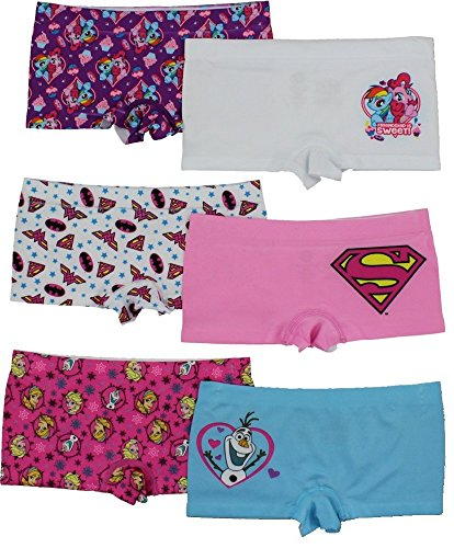 My Little Pony Disney (Disney Girls Boyshort Assorted Underwear Pack of 6 - Set 2 - S, Frozen, My Little Pony & Superman)
