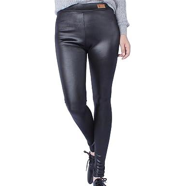 TOPmountain Femmes Daily Pantalons Collants Pantalons Bas Faux Cuir Taille  Haute élastique Fashion Slim Pantalon Crayon Fermeture éclair Noir Hiver  Chaud ... 81f805ce938