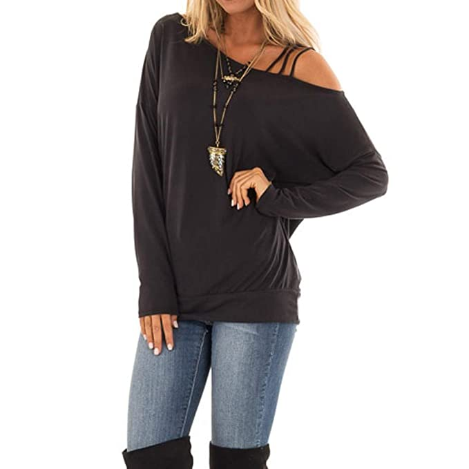 bc338fca570ae Amazon.com  SUJING Women Solid Casual Long Sleeve One Shoulder Asymmetrical  Neckline Tops Blouse S-XL  Clothing