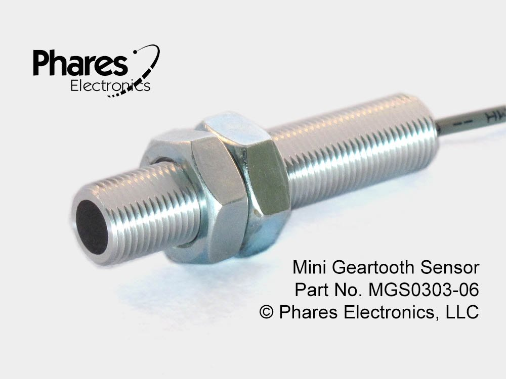 Phares MGS Mini Geartooth Sensor for industrial machines, 6' Cable