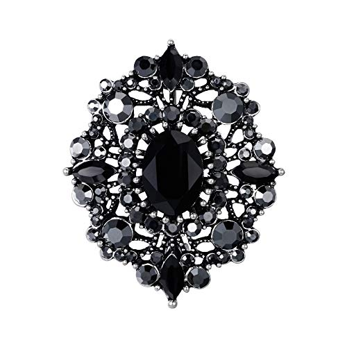 Black Silver Brooch - EVER FAITH Women's Oval w/Marquise Crystal Boho Banquet Hollow Brooch Black Antique Silver-Tone