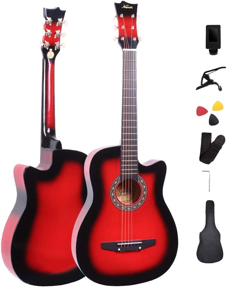 Principiante guitarra acústica, con cuerdas de acero de 2,8 mm de acordes D 21 trastes Cutaway Dreadnouht Diseño fácil de llevar entretenimiento al aire libre, 4 colores (Color: Negro, tamaño: 94 cm)