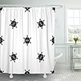 Emvency 72''x72'' Shower Curtain Waterproof America Sheriff Badge Pattern in Black Color Any Design Geometric American Crime Home Decor Polyester Fabric Adjustable Hook Set