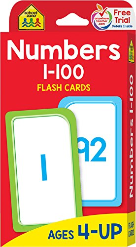 School Zone - Numbers 1-100 Flash Cards - Ages 4 and Up, Numbers 1-100, Counting, Skip Counting, and ()
