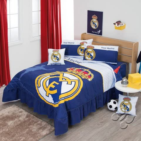 Colcha de ropa de cama de fútbol Real Madrid Juego para cama de ...