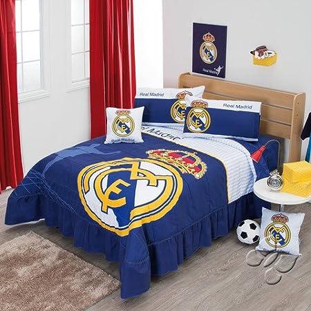 Colcha de ropa de cama de fútbol Real Madrid Juego de hoja de la bandera de España: Amazon.es: Hogar